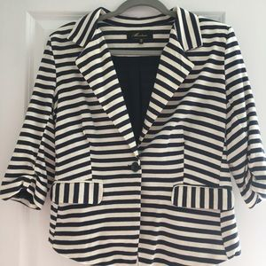 Monkeys Navy and Off White Striped lined Blazer